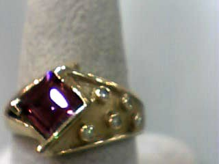 Almandite Garnet Lady's Stone & Diamond Ring 5 Diamonds .10 Carat T.W.