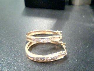 Gold-Diamond Earrings 12 Diamonds .36 Carat T.W. 14K Yellow Gold 4.7g