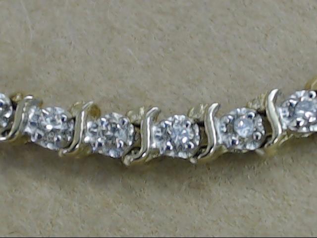 """VINTAGE 46 NATURAL DIAMOND TENNIS BRACELET SOLID 14K GOLD 7.5g 7"""""""