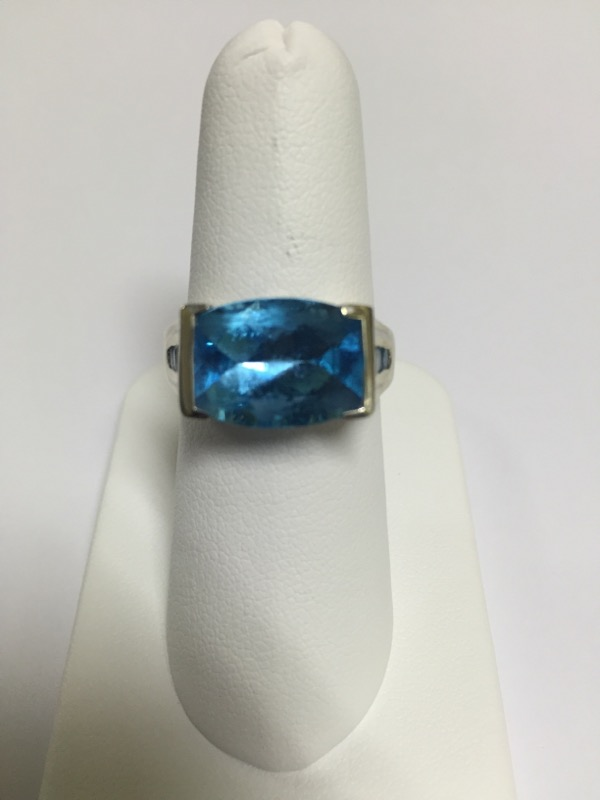 BLUE STONE(S)  CLUSTER RING L'S 14KT BLUE STONE(S)  3.5/WG
