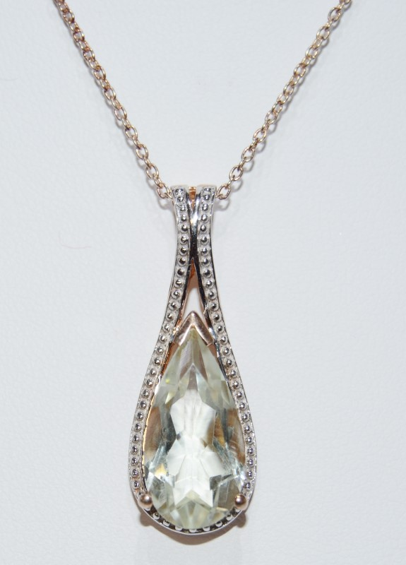 Gold Toned Sterling Silver Pear Shaped Light Green Pendant Necklace