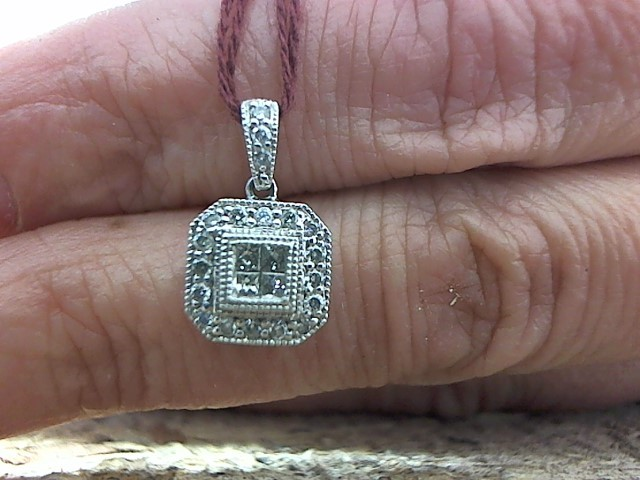 Gold-Multi-Diamond Pendant 23 Diamonds .31 Carat T.W. 10K White Gold 1.3g