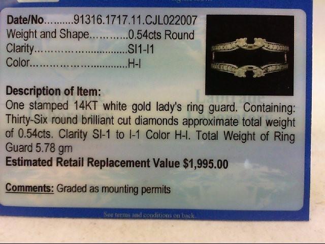 Lady's Gold-Diamond Ring Guard 36 Diamonds .54 Carat T.W. 14K White Gold 5.78g