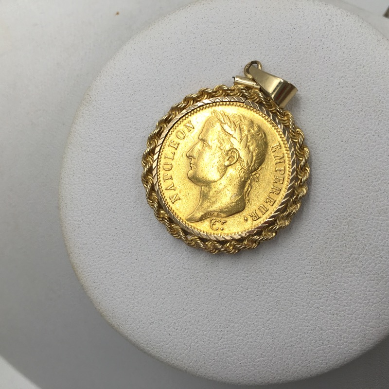 1811 France Napoleon 40 Francs Gold Coin In 14k Gold Rope Bezel