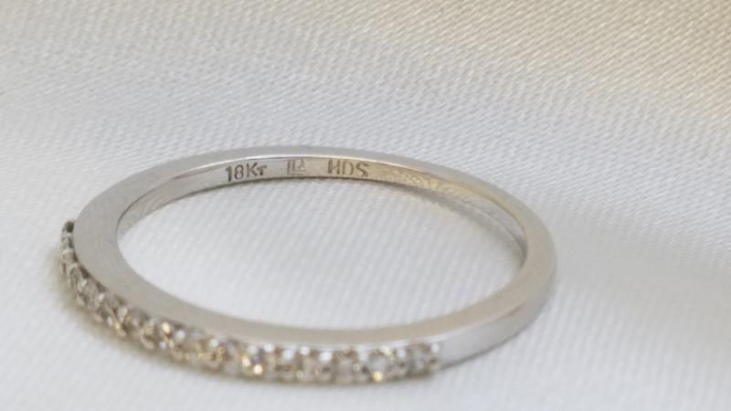 Lady's Gold-Diamond Anniversary Ring 15 Diamonds .15 Carat T.W. 18K White Gold