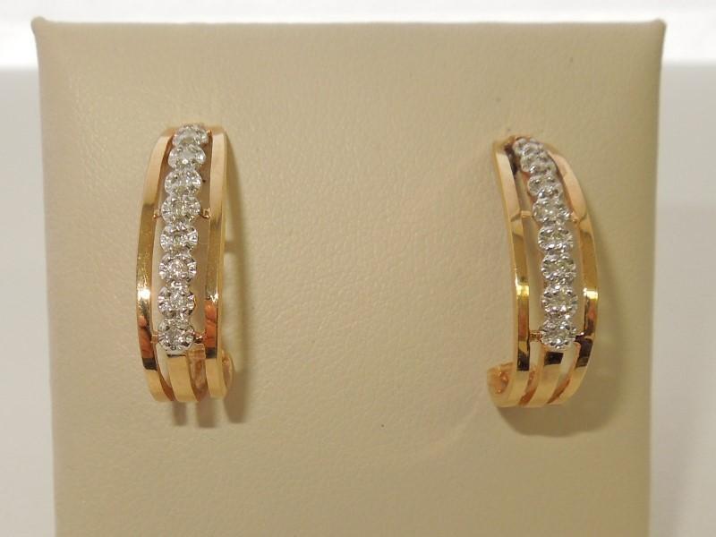 Gold-Diamond Earrings 16 Diamonds .16 Carat T.W. 10K Yellow Gold 3g