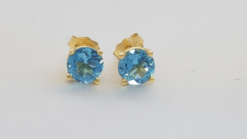 Synthetic Blue Topaz Gold-Stone Earrings 14K Yellow Gold 1g
