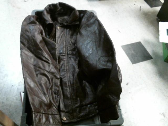 BROWN LEATHER COAT JACKET
