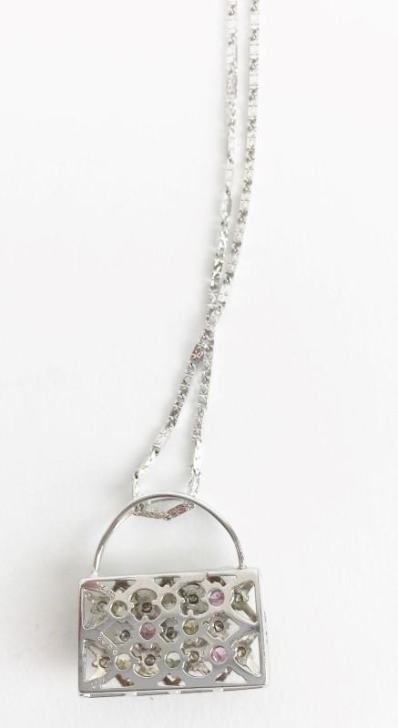 Multi Color-Diamond Pendant 19 Diamonds .86 Carat T.W. 18kt WG Pendant w Chain