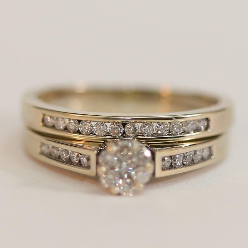 Lady's Diamond Wedding Set 28 Diamonds .62 Carat T.W. 14K White Gold 5.7g