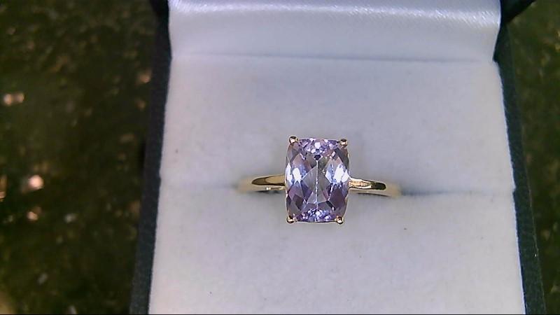 Purple Stone Lady's Stone Ring 10K Yellow Gold 1.9g