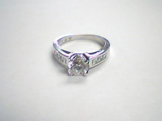 Synthetic Cubic Zirconia Lady's Stone Ring 14K White Gold 5.3g Size:8.5