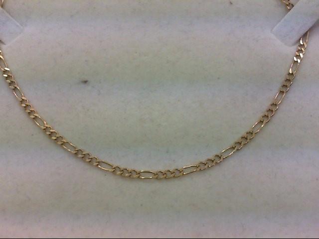 """19"""" Gold Figaro Chain 14K Yellow Gold 5.2g"""