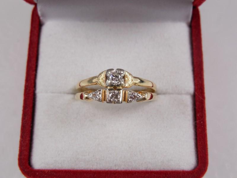 LADY'S VINTAGE DIAMOND WEDDING SET APX.13CTW 14KYG SZ.7 3.4G