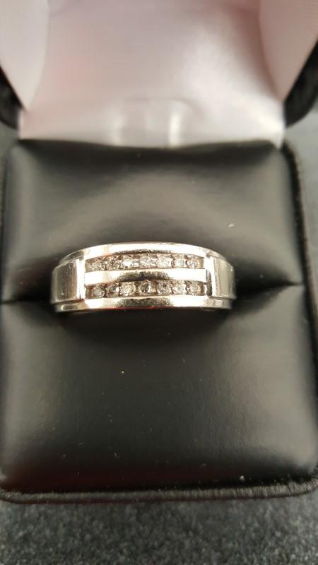 Gent's Diamond Fashion Ring 14 Diamonds .42 Carat T.W. 10K White Gold 4.3g