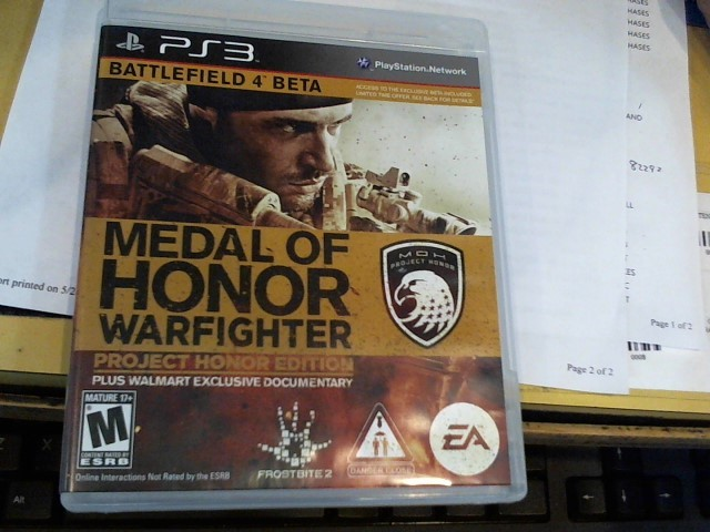 SONY Sony PlayStation 3 Game MEDAL OF HONOR WARFIGHTER