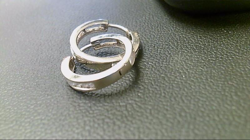 Gold-Diamond Earrings 16 Diamonds .96 Carat T.W. 10K White Gold 4.5g