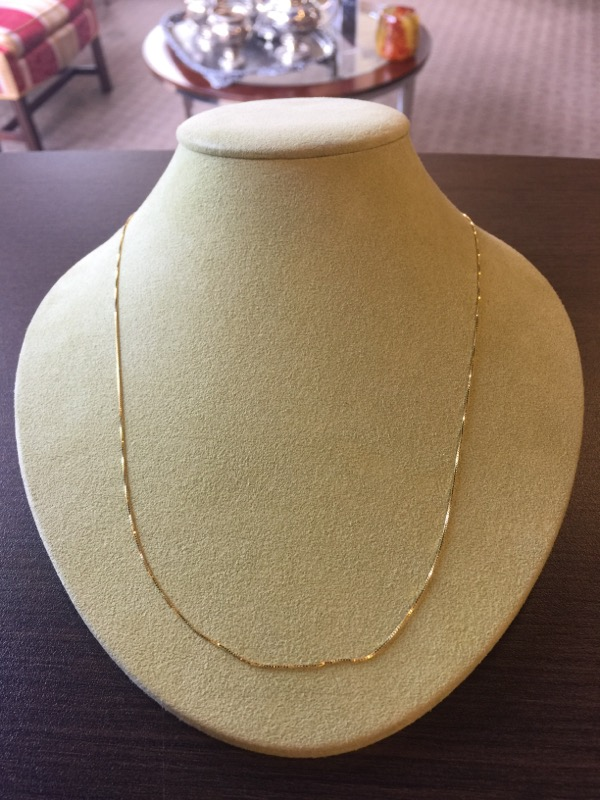 "21"" Gold Box Chain 14K Yellow Gold 1.3g"