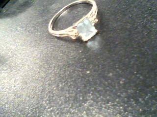 Synthetic Aquamarine Lady's Stone Ring 10K White Gold 1.8g