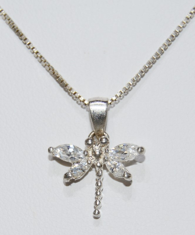 """18"""" Sterling Silver Crystal Dragonfly Pendant Necklace on Box Chain"""