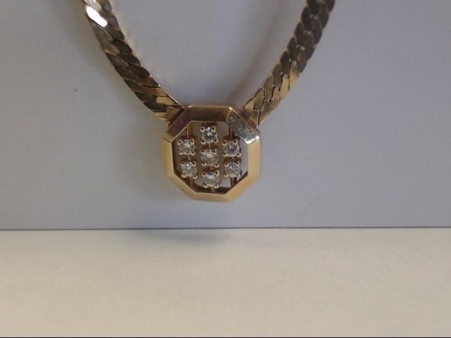 Diamond Necklace 7 Diamonds .28 Carat T.W. 14K Yellow Gold 13.68g