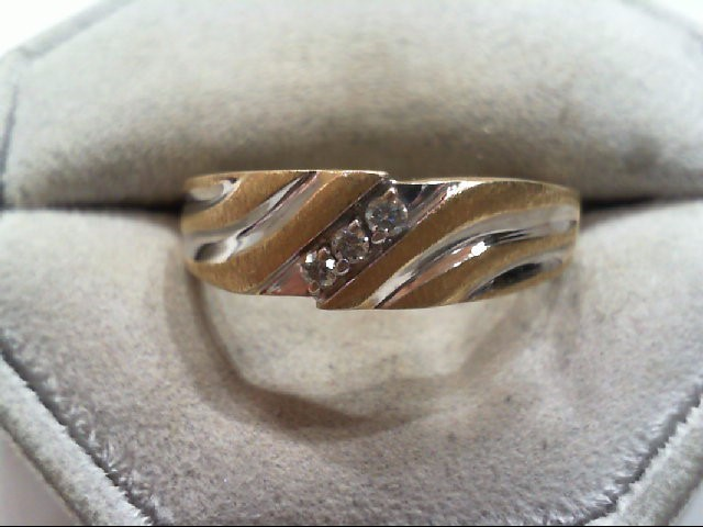 Lady's Diamond Wedding Band 3 Diamonds .12 Carat T.W. 14K 2 Tone Gold 5.2g