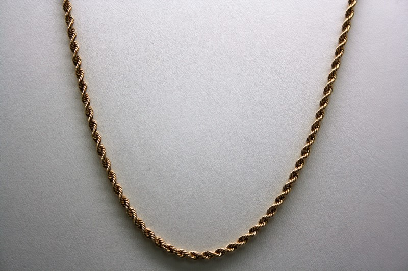 """18"""" ROPE STYLE CHAIN 14K YELLOW GOLD"""