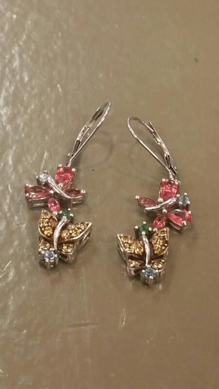 Pink Stone Silver-Stone Earrings 925 Silver 2.9dwt