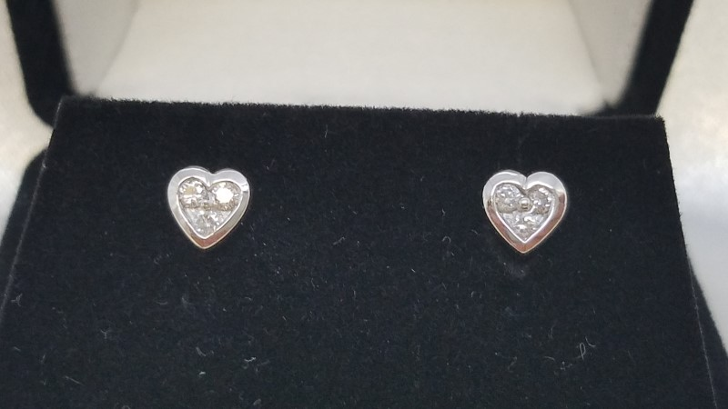Gold-Diamond Earrings 6 Diamonds .12 Carat T.W. 18K White Gold 1.7g