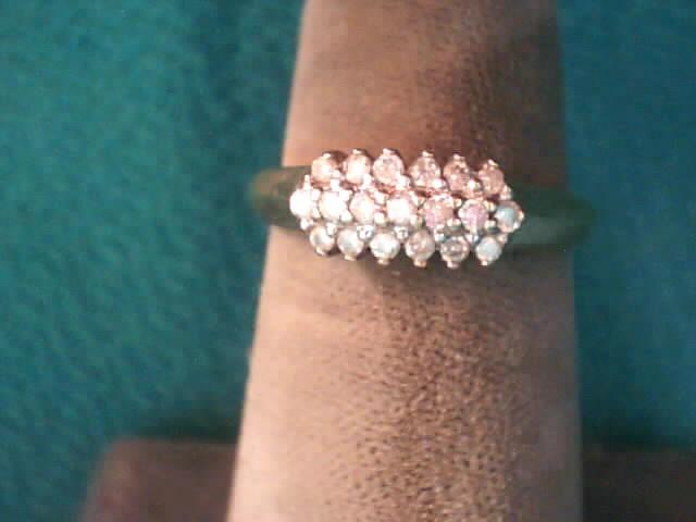 Lady's Diamond Cluster Ring 19 Diamonds .19 Carat T.W. 10K Yellow Gold 1.5dwt