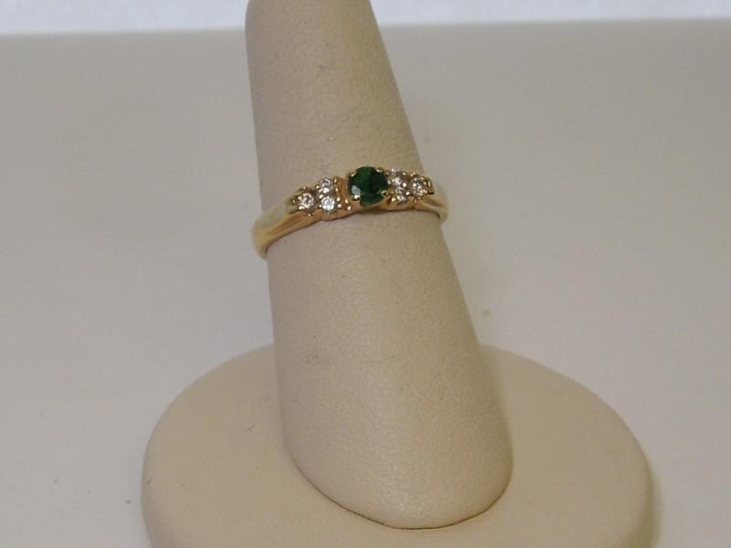 Emerald Lady's Stone & Diamond Ring 6 Diamonds .14 Carat T.W. 14K Yellow Gold