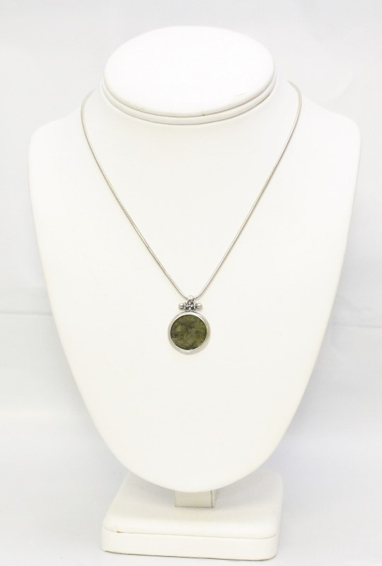 """16"""" Sterling Silver Snake Chain & Silver Pendant w/ Antique Coin"""