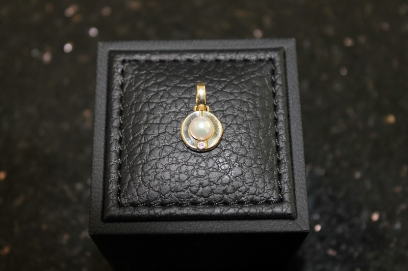 7mm White Pearl with Genuine Emerald 10K Yellow Gold Pendant YG