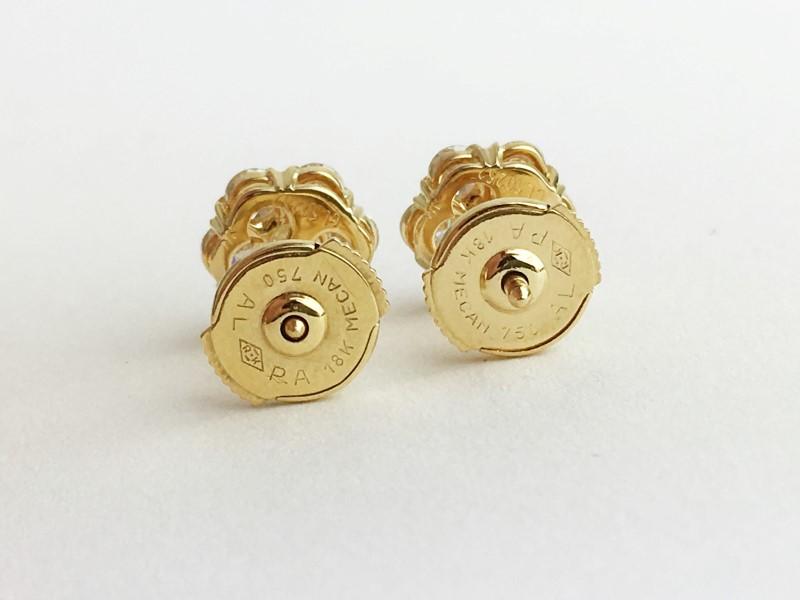 Van Cleef & Arpels 18KY YG FLEURETTE DIAMOND EARSTUDS SMALL MODEL APX 1.08CTW