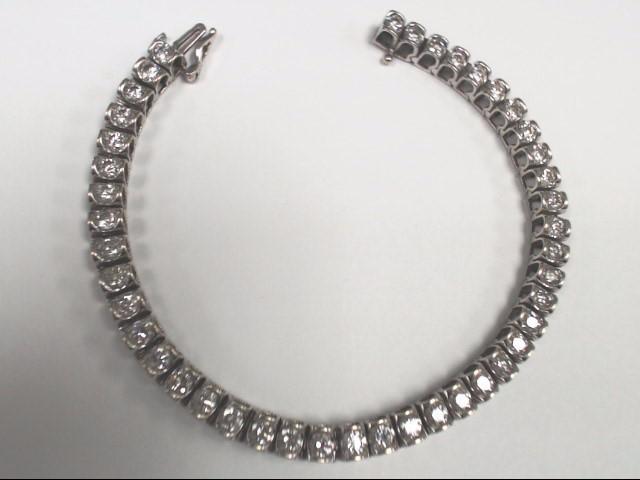 Gold-Diamond Bracelet 43 Diamonds 4.30 Carat T.W. 14K White Gold 19.3g