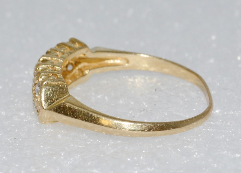 14K Yellow Gold Double Row Set Round Diamond Cluster Ring Size 8.5