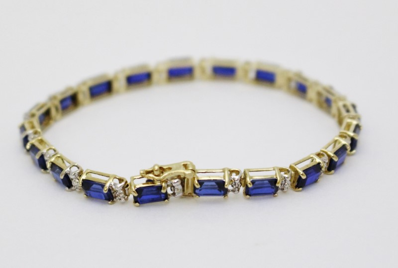 "6.5"" 10K Yellow Gold Created Emerald-Cut Sapphire Tennis Bracelet"