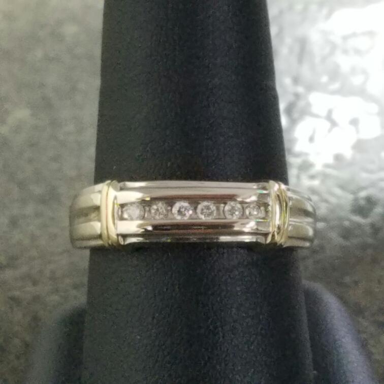 Gent's Diamond Fashion Ring 6 Diamonds .12 Carat T.W. 14K White Gold 3.21dwt