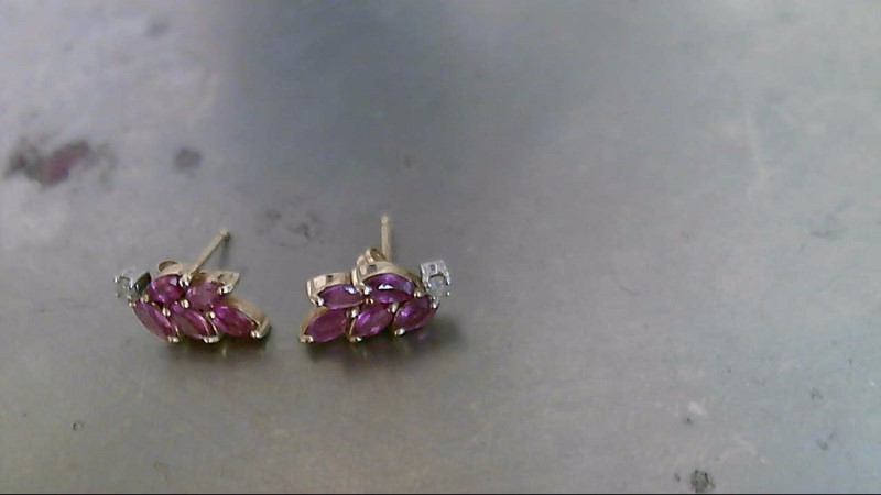 Pink Stone Gold-Diamond & Stone Earrings 2 Diamonds .02 Carat T.W.