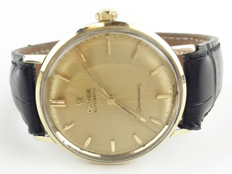 OMEGA AUTOMATIC WATCH SEAMASTER WITH LEATHER STRAP
