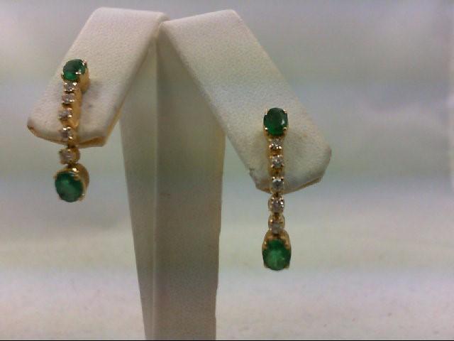 Emerald Gold-Diamond & Stone Earrings 10 Diamonds .30 Carat T.W.