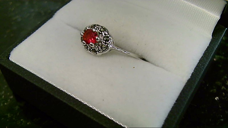 Synthetic Ruby Lady's Silver & Stone Ring 925 Silver 2g