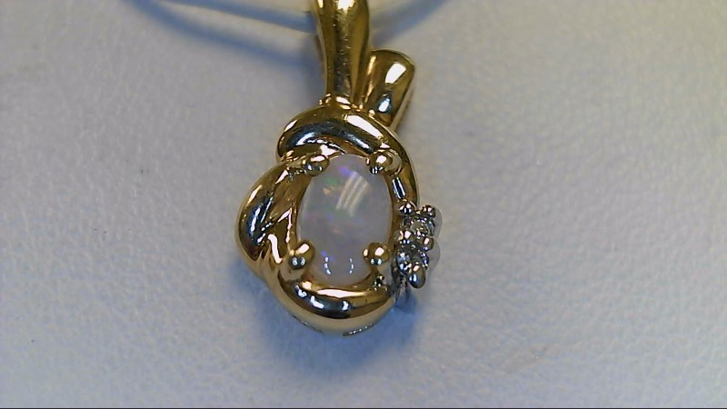 Lady's 14k yellow gold oval opal with 2 -1mm round diamonds pendant