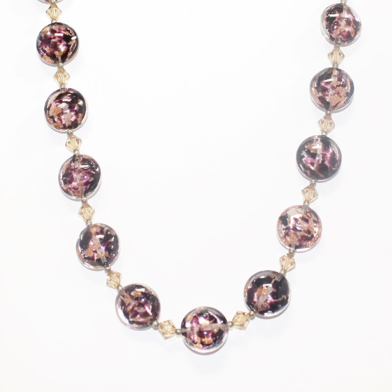 """18"""" PURPLE AND CHAMPAGNE GLASS BEAD NECKLACE"""