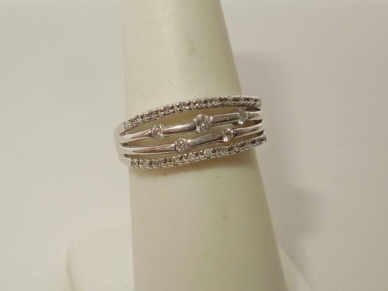 Lady's Diamond Fashion Ring 27 Diamonds .180 Carat T.W. 10K White Gold 2.6g