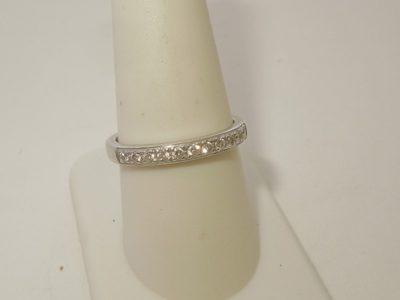 Lady's Gold-Diamond Anniversary Ring 11 Diamonds .11 Carat T.W. 14K White Gold