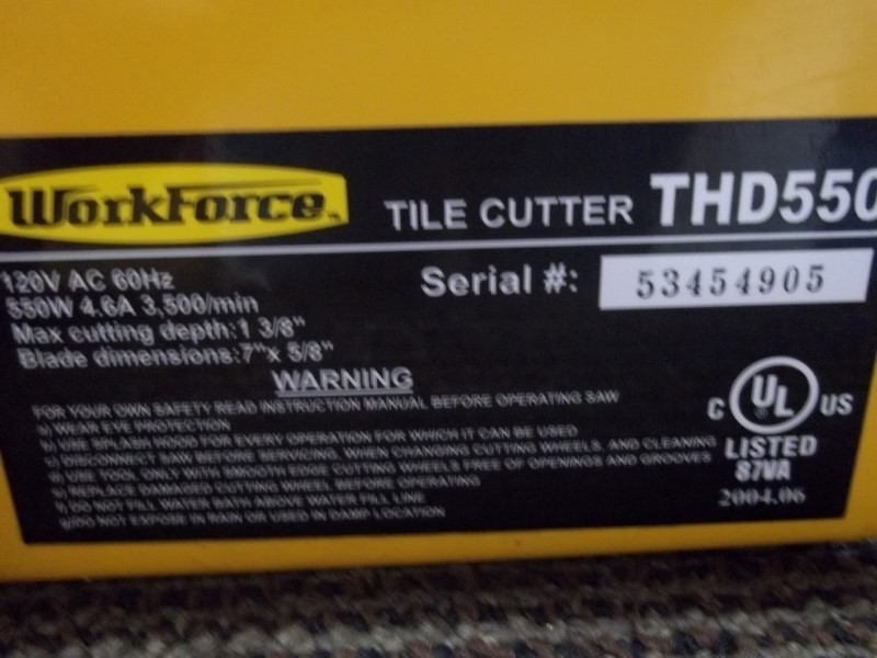 WORK FORCE THD550 TILE SAW