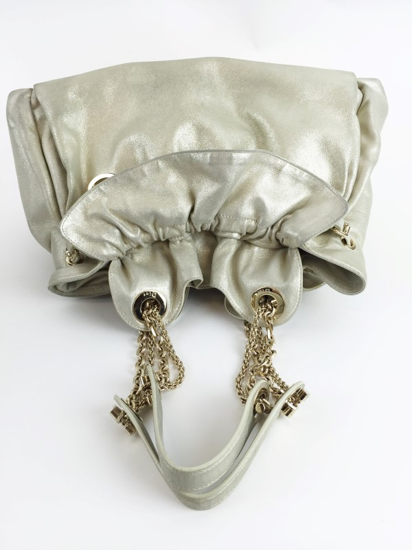 CHRISTIAN DIOR METALLIC GOLD LEATHER LE TRENTE BAG