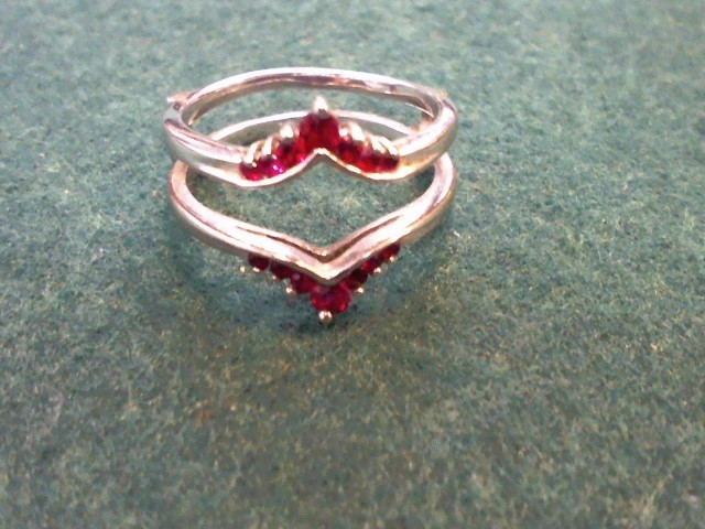 Red Stone Lady's Silver & Stone Ring 925 Silver 4.6g Size:9