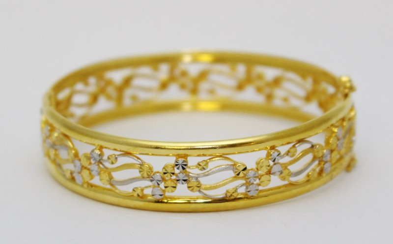 22K Two-Tone Gold Open Work Diamond Cut Hinged Bangle Bracelet